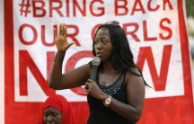 """Protestors with the Abuja """"Bring Back Our Girls"""" chapter demonstrate at Unity Fountain in Abuja on January 25, 2015."""