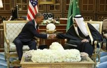 President Barack Obama shakes hands with Saudi Arabia's King Salman at the start of a meeting at Erga Palace in Riyadh.