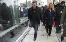 Boston Marathon bombing survivor Marc Fucarile leaves the federal courthouse in Boston on the first day of the trial of accused Boston Marathon bomber Dzhokhar Tsarnaev on March 4, 2015.