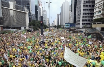 Demonstrators attend a protest against Brazil's President Dilma Rousseff in São Paulo on March 15, 2015. Protest organizers in dozens of cities across Brazil are planning marches to pressure Rousseff over unpopular budget cuts and a corruption scandal tha