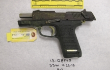 A photo entered as evidence in the trial of Boston Marathon bombing suspect Dzhokhar Tsarnaev shows a Ruger semi-automatic handgun supposedly used to kill MIT police officer Sean Collier.