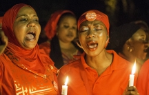 Nigerians held vigils for the girls kidnapped by the extremist group Boko Haram on the one year anniversary of their abduction, April 14, 2015.