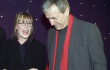 """Actress Sissy Spacek and director Costa Gavras talk before the start of the Charles Horman Truth Project 2002 Human Rights Awards in New York City. Gavras directed and Spacek starred in the film """"Missing."""""""