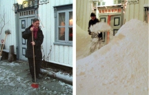 Norwegian resident Gunnar Farsund stands in front of the clear doorway of his house due to mild weather in the far northern city of Tromsoe January 9, 1998, in contrast with the same time last year (R) when he and the town were besieged with 143 centimete