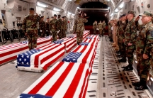 Coffins of US military personnel are prepared to be offloaded at Dover Air Force Base in Dover, Delaware in this undated photo. From 1991 to 2009, the government did not permit photographing the return of servicemembers killed in action.