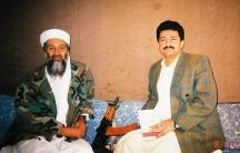 Hamid Mir interviewing Osama bin Laden, in early November 2001.