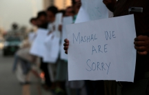 Protesters hold placards condemning the killing of university student Mashal Khan, after he was accused of blasphemy, during a protest in Islamabad, Pakistan