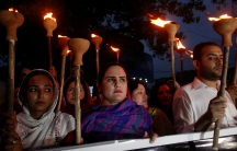 Protesters gather to condemn the killing of university student Mashal Khan, after he was accused of blasphemy, during a protest in Peshawar, Pakistan, April 20, 2017.