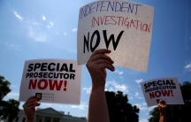 Protesters gather to rally against US President Donald Trump's firing of Federal Bureau of Investigation (FBI) Director James Comey, outside the White House in Washington, DC. May 10, 2017.