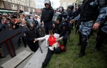 Russian police detain female protesters