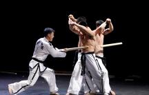 Members of North Korea-led International Taekwondo Federation demonstrate their skills at the World Taekwondo Headquarters 'Kukkiwon'