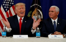 President Donald Trump and Vice President Mike Pence speaking to reporters after a security briefing at Trump's golf estate in Bedminster, New Jersey, on Aug. 10.