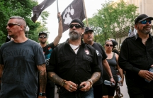 Patrick Beaudry, founder and leader of Quebec group La Meute, marches during a protest to demand stronger border controls in Quebec City.