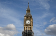 Scaffolders work on the Big Ben clock tower which is undergoing maintenance in Westminster, London, Sept. 28, 2017