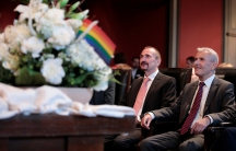Same-sex couple Karl Kreil and Bodo Mende get married at a civil registry office, becoming Germany's first married gay couple