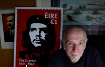 An illustration of a controversial new postage stamp in Ireland, with Irish artist, Jim Fitzpatrick, who created the famous two-tone image of Che Guevara used on the stamp