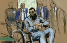Sayfullo Saipov, the suspect in the New York City truck attack, is seen in this courtroom sketch appearing in Manhattan federal courtroom in a wheelchair in New York, NY, U.S., November 1, 2017.