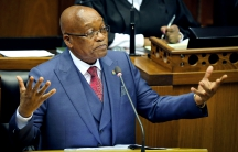 President Jacob Zuma gestures as he addresses parliament in Cape Town.