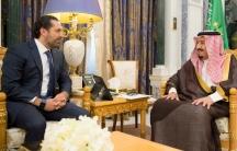 Saudi Arabia's King Salman bin Abdulaziz Al Saud meets with former Lebanese Prime Minister Saad al-Hariri in Riyadh, Saudi Arabia, Nov. 6, 2017.