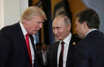 US President Donald Trump and Russian President Vladimir Putin talk