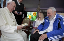 Pope Francis (L) and former Cuban President Fidel Castro (in a tracksuit) share a laugh in Havana, Cuba, September 20, 2015.