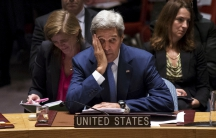 US Secretary of State, John Kerry looks on during the U.N. Security Council meeting on counter-terrorism at the United Nations General Assembly at the United Nations in New York on September 30, 2015.