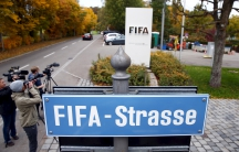 """The sign marking """"FIFA Street"""" outside their headquarters in Zurich."""