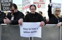 People demonstrate against Iceland's Prime Minister Sigmundur Gunnlaugsson in Reykjavik, Iceland on April 4, 2016 after a leak of documents by so-called Panama Papers stoked anger over his wife owning a tax haven-based company with large claims on the cou