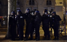 """French Police forces take part in a mock terrorist attack drill at a """"fan zone"""" at the Place des Quinconces in Bordeaux, southwestern France, in preparation of security measures for the UEFA 2016 European Championship, April 4, 2016."""