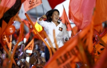 Peru's leading presidential candidate Keiko Fujimori revs up supporters during her closing campaign rally in Lima on April 7.