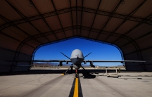 A U.S. Air Force MQ-9 Reaper drone sits in a hanger at Creech Air Force Base May 19, 2016. The base in Nevada is the hub for the military's unmanned aircraft operations in the United States.
