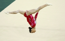 Catalina Ponor (ROU) of Romania competes on the floor during the women's qualifications.