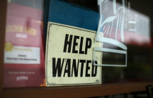 Help wanted sign on restaurant window