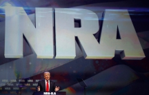 President Donald Trump Speaks at a Podium