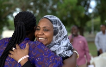 """Members of the """"Bring Back Our Girls"""" campaign celebrate news that Boko Haram extremists have released 21 young captives."""