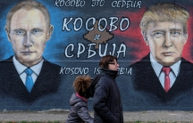 A mural of then President-elect Donald Trump and Russian President Vladimir Putin in Belgrade, Serbia, December 4, 2016.