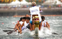 Competitors in action during the Hong Kong Dragon Boat Festival that features three days of races and parties.