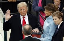Donald Trump taking the oath of office
