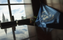 UN flag in a room in New York City