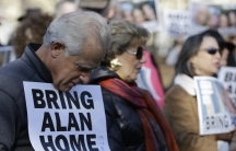 Demonstrators gathered for a rally for American detainee Alan Gross in Washington, DC, during December 2013.