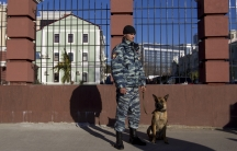 One of the roughly 40,000 Russian police and security agents on duty in Sochi.