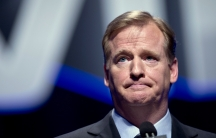 NFL Commissioner Roger Goodell speaks during a news conference ahead of the 2014 Super Bowl.