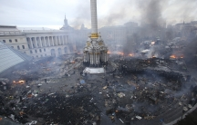 An aerial view of Independence Square during clashes between anti-government protesters and riot police in central Kiev.