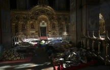 Anti-government protesters sleep in Kiev's Mikhailovsky Monastery last week.
