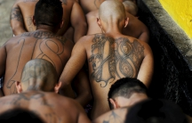Members of the Barrio 18 gang arriving at the San Francisco Gotera penitentiary April 21, 2015.