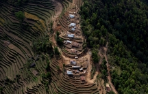 An aerial view of houses damaged by Saturday's earthquake is seen in Nuwakot, Nepal, May 1, 2015.