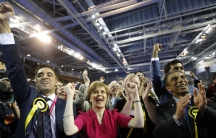 Nicola Sturgeon, leader of the Scottish National Party, reacts to election results at a counting center in Glasgow, Scotland, on May 8, 2015.