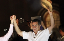 """Jaime Rodriguez, known as """"El Bronco,"""" an independent candidate for governor of Nuevo Leon state, celebrates his victory after midterm elections, June 7, 2015."""