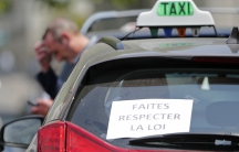 French taxi drivers protest against Uber