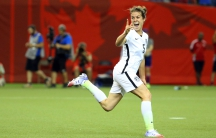 Kelley O'Hara of the US Women's soccer team celebrates her one-touch goal in the 2-0 semifinal victory over Germany. The US advances to the Women's World Cup finals on Sunday in Vancouver